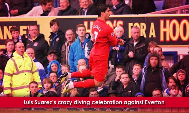 Luis Suarez diving celebration