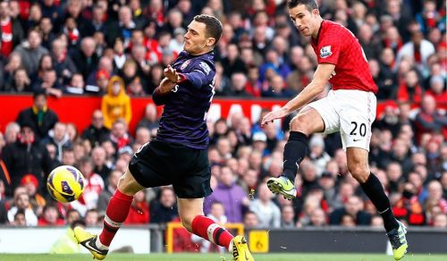 Van Persie scores against his former club