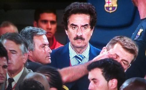 Jose Mourinho poking Tito Vilanova's eye